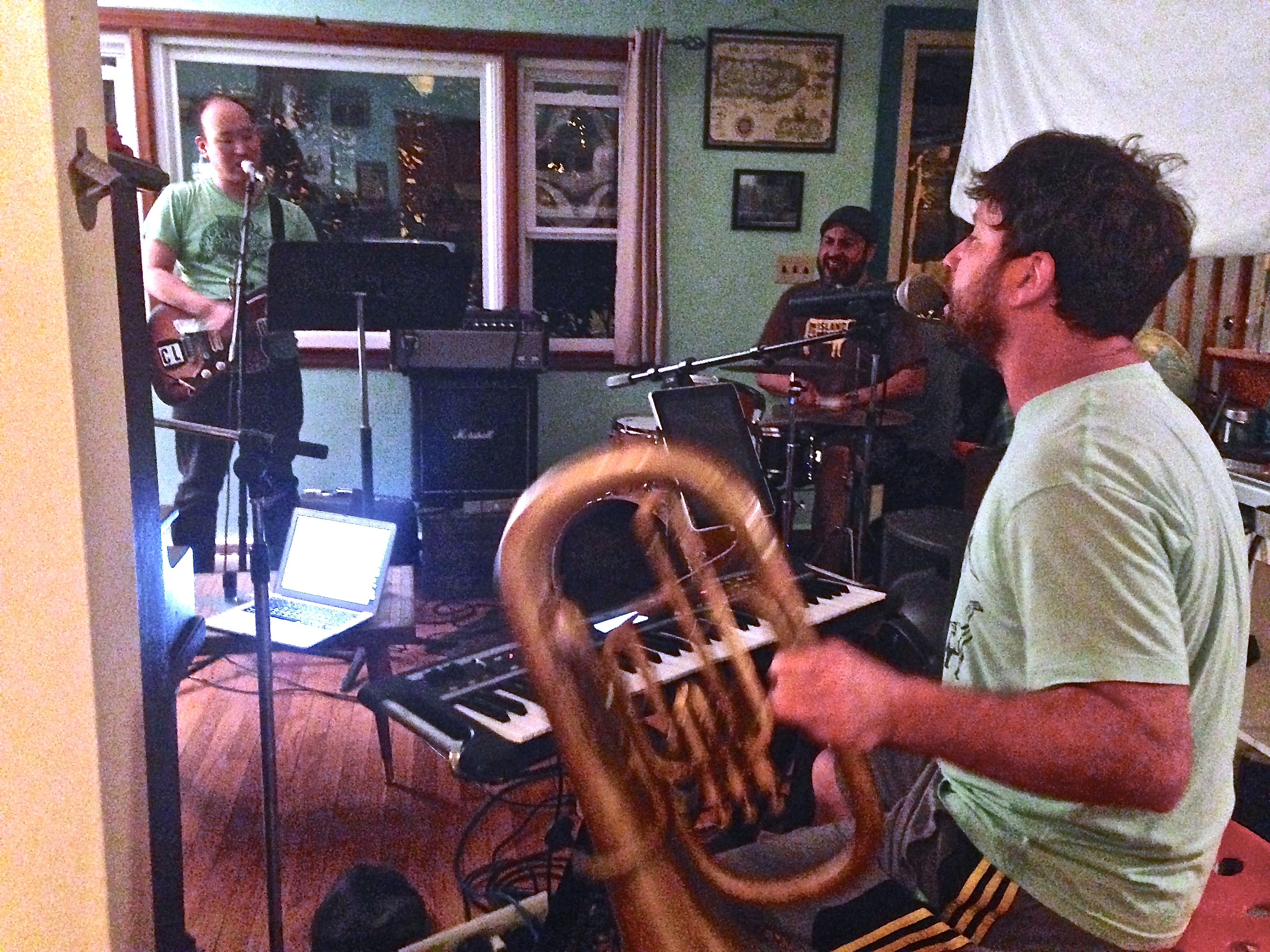 """Adam Hirsh plays multiple brass instruments,  synthesizer, backing vocals and even the kazoo on """"Eleventh Hour Shine.""""  For live performances, he often functions as the music director."""